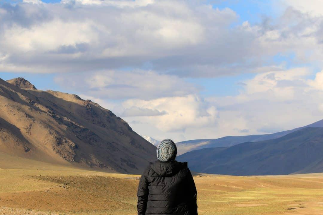 Hombre observando el paisaje