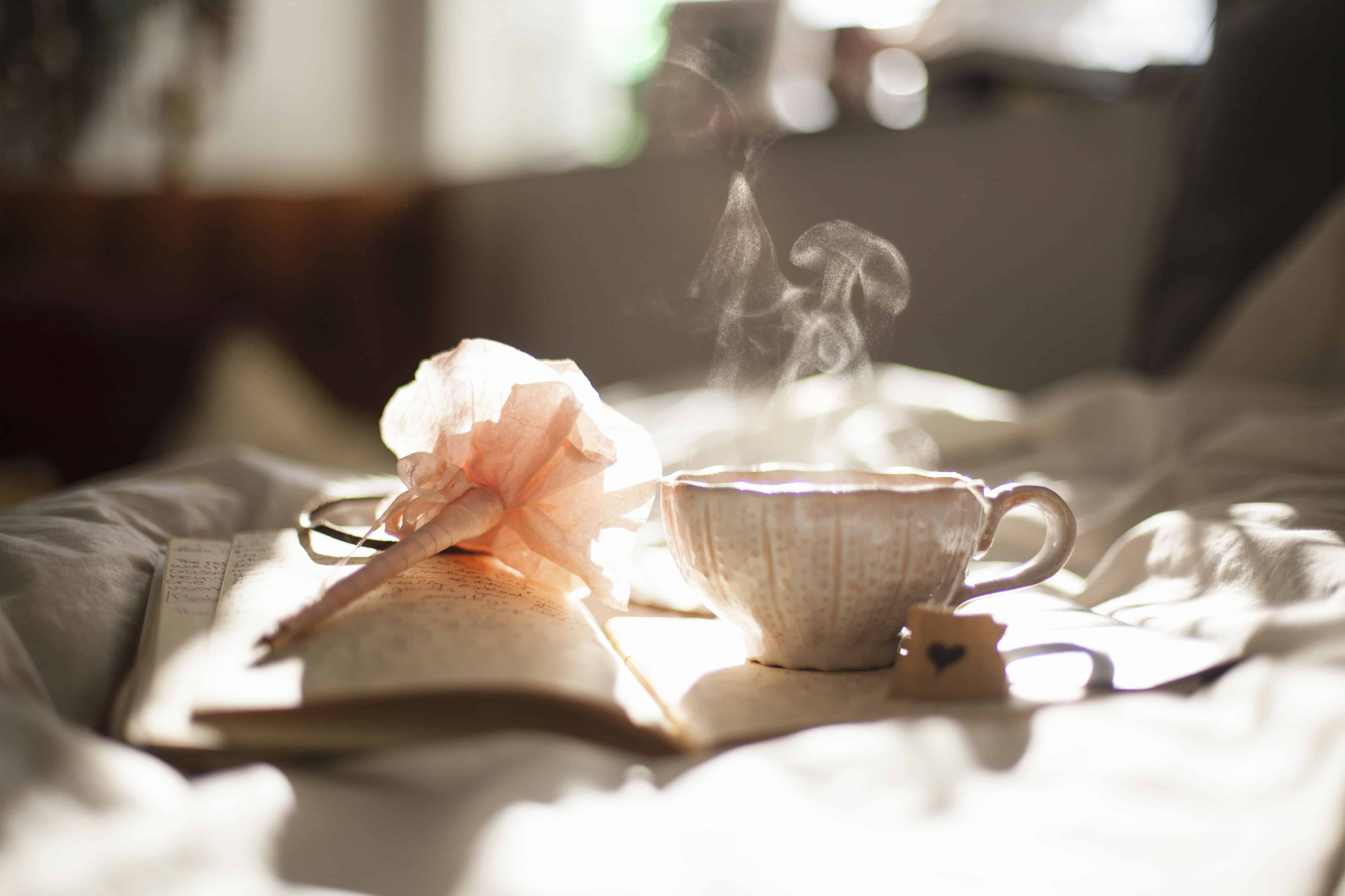 Taza de café, humo, libro, lapicero, sol matutino.